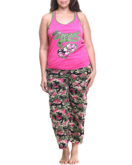 Drj Lingerie Shoppe - Women Camo,Pink Love Camo Capri Pj Set (Plus)