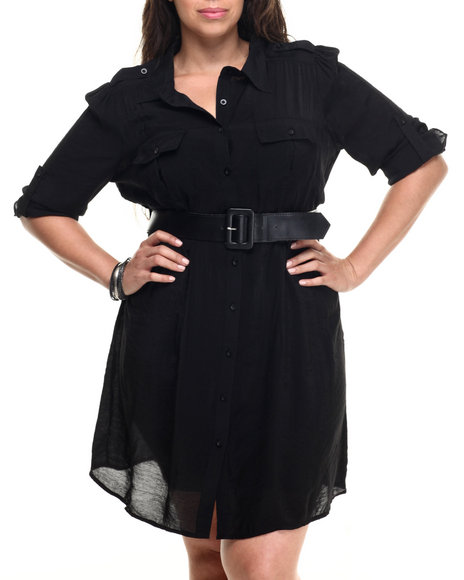 She's Cool - Women Black Roll-Up Sleeve Belted Shirt Dress (Plus)