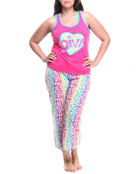 Ur-ID 218802 DRJ Lingerie Shoppe - Women Multi Cheetah Print Capri Pj Set (Plus) by DRJ Lingerie Shoppe