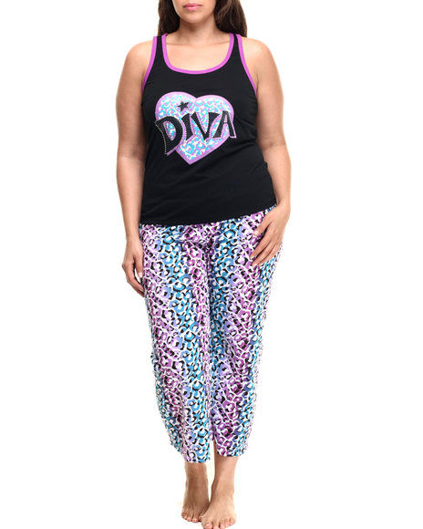 Ur-ID 218803 DRJ Lingerie Shoppe - Women Black,Purple Cheetah Print Capri Pj Set (Plus)