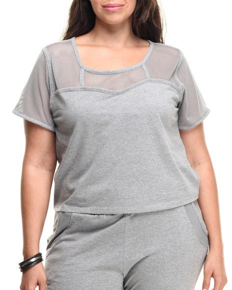 Baby Phat - Women Grey Mesh Yoke Active Top (Plus)