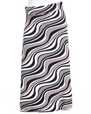 Skirts - Wave Print Knit Foldover Waist Maxi Skirt (Plus)
