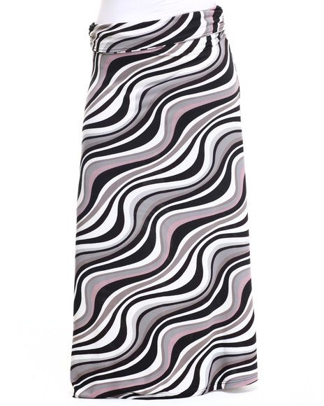 She's Cool - Women Off White,Grey Wave Print Knit Foldover Waist Maxi Skirt (Plus)