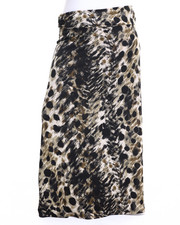 Bottoms - Leopard Print Knit Foldover Waist Maxi Skirt (Plus)