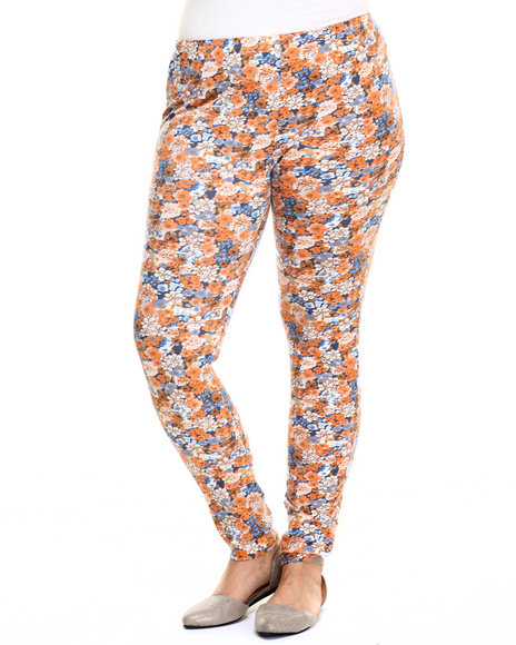 She's Cool - Women Dark Orange Floral Print Cotton Legging (Plus)