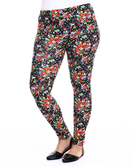 She's Cool - Women Black,Orange Floral Print Cotton Legging (Plus)