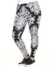 Women - Large Scroll Print Cotton Legging (Plus)