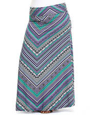 Skirts - Graphic Print Knit Foldover Waist Maxi Skirt (Plus)