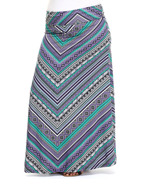 She's Cool - Women Multi,Purple Graphic Print Knit Foldover Waist Maxi Skirt (Plus)