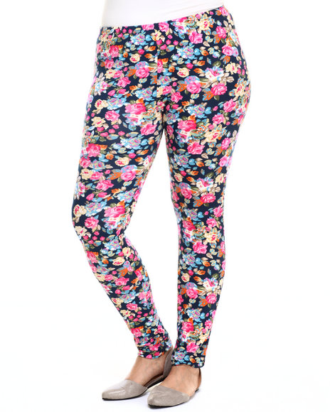 She's Cool - Women Navy,Pink Floral Print Cotton Legging (Plus)
