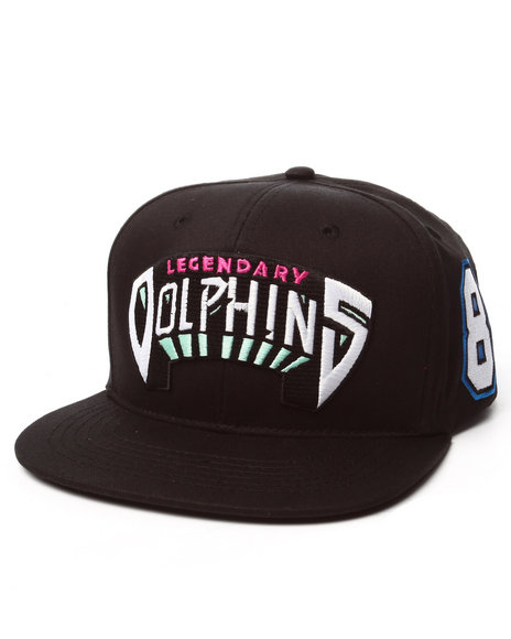 Ur-ID 223285 Pink Dolphin - Men Black Legendary Dolphins Snapback Hat