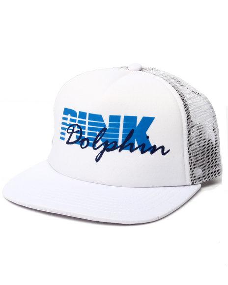 Ur-ID 223286 Pink Dolphin - Men White Testa Script Trucker Hat