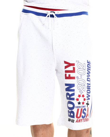 Born Fly - Men White Ali Shorts - $40.99