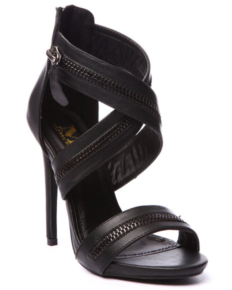 Ur-ID 219446 Fashion Lab - Women Black Ziggy Zipper Detail Criss Cross Heel Sandal