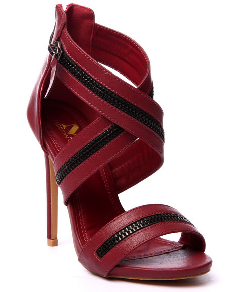 Ur-ID 219447 Fashion Lab - Women Maroon Ziggy Zipper Detail Criss Cross Heel Sandal