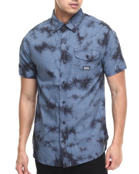 Ur-ID 219452 Parish - Men Navy Linen Tie Dye S/S Button-Down
