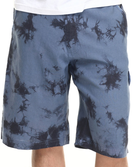 Parish - Men Navy Linen Tie Dye Jogger Short