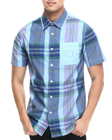 Ur-ID 219454 Parish - Men Navy Madras Plaid S/S Button-Down