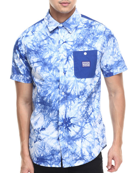 Ur-ID 219456 Parish - Men Navy Tie Dye S/S Button-Down