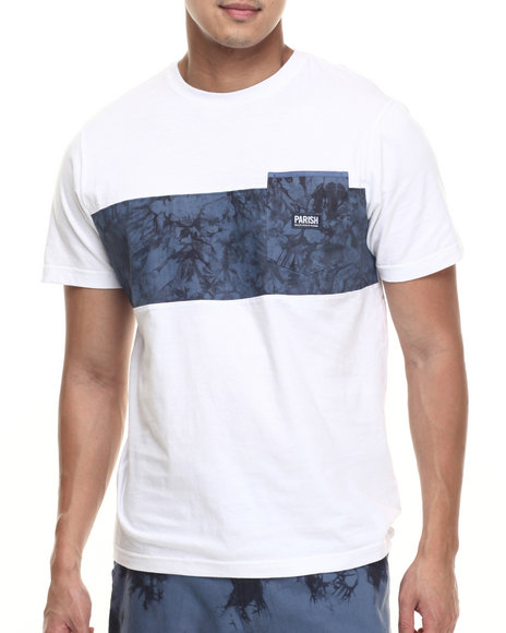 Parish - Men Navy Linen Colorblock T-Shirt