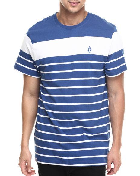 Akademiks - Men Blue Alden Stripe Logo S/S Tee