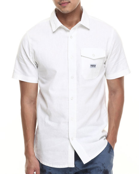 Parish - Men White Solid Linen S/S Button-Down