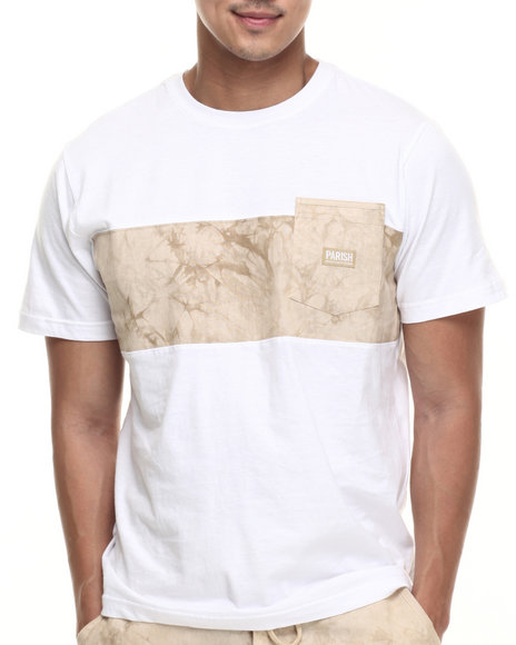 Ur-ID 219464 Parish - Men Khaki Linen Colorblock T-Shirt