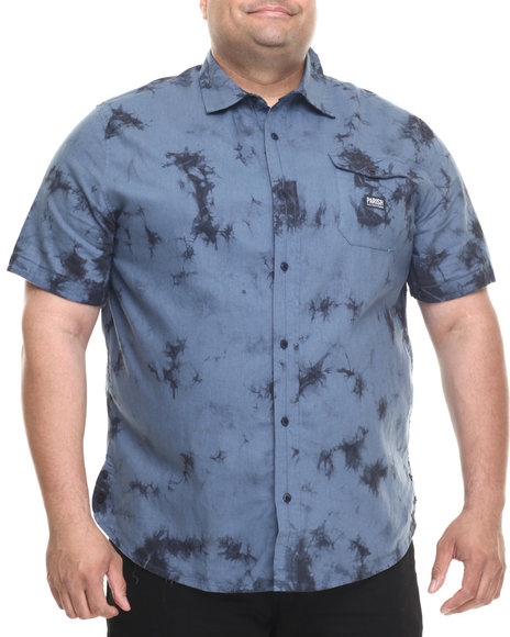 Ur-ID 219500 Parish - Men Navy Linen Tie Dye S/S Button-Down (B&T)
