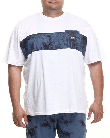 Parish - Men White Linen Colorblock T-Shirt (B&T)
