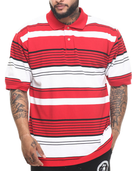Basic Essentials - Men Red Multi - Stripe Pique S/S Polo
