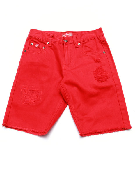 Parish - Boys Red Distressed Twill Shorts (8-20) - $16.99