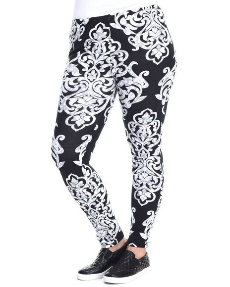 She's Cool - Women Black Large Scroll Print Cotton Legging (Plus)