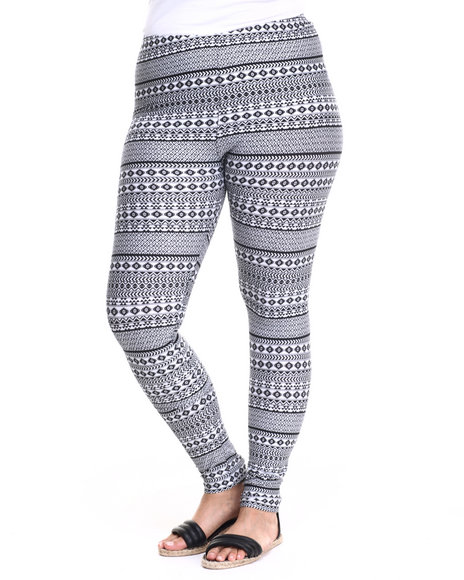 She's Cool - Women Black,White Tribal Cotton Legging (Plus)