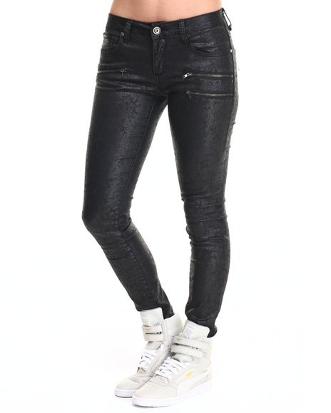 Fashion Lab - Women Black Coated Stretch Denim Skinny Jean - $25.99