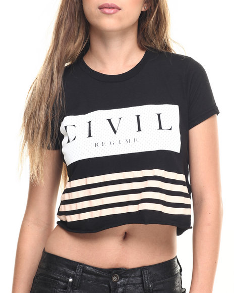 Civil - Women Black Team Focused & Fierce Crop Boyfriend Tee