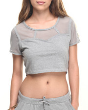 Tees - Mesh Yoke Active Crop Top