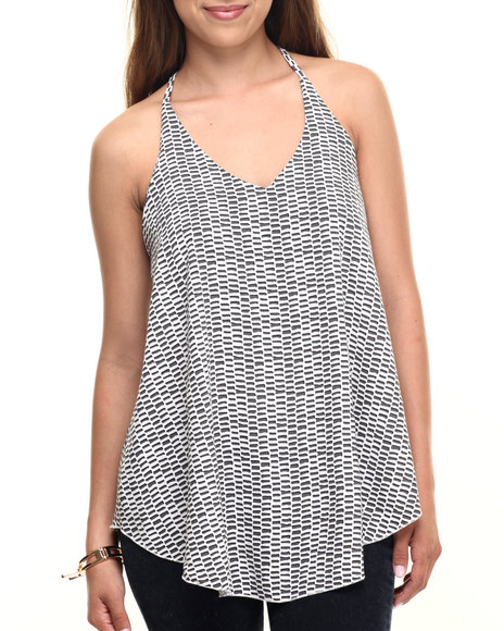 Fashion Lab - Women Black Tribal Print Woven Print Tank