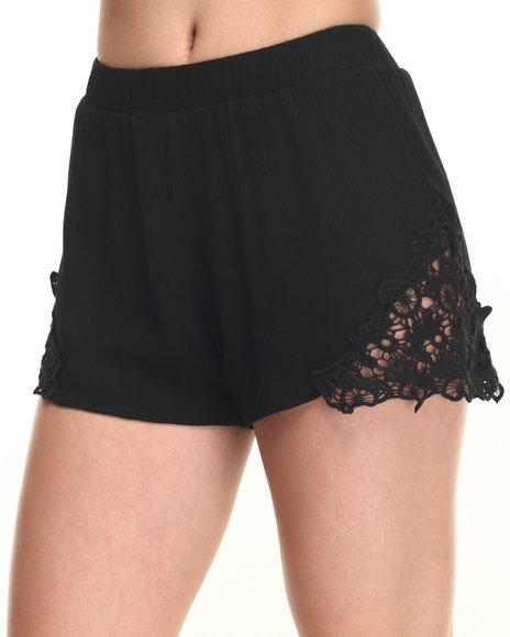 Ur-ID 219570 Fashion Lab - Women Black Lace Detail Short