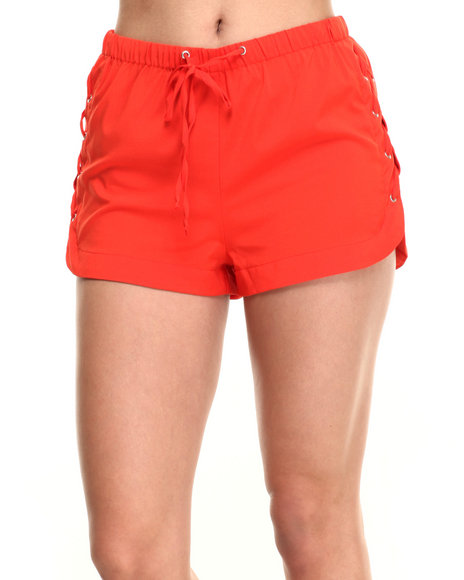 Ur-ID 219571 Fashion Lab - Women Orange Lace Side Detial Shorts