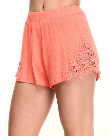 Ur-ID 219572 Fashion Lab - Women Orange Lace Detail Short