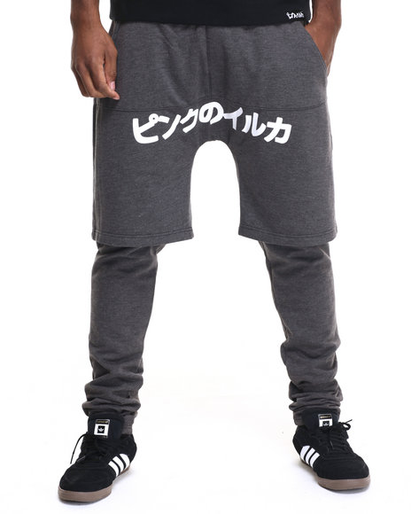 Ur-ID 219556 Pink Dolphin - Men Charcoal Box Plus Layered Fleece Joggers