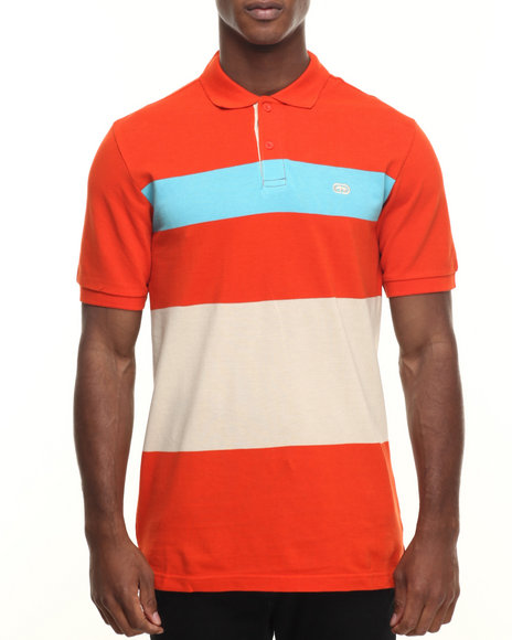 Ecko - Men Orange Pique Stripe Polo