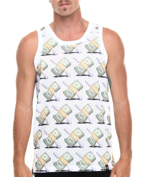 Hudson Nyc - Men White Money Flys Mesh Jersey Tank