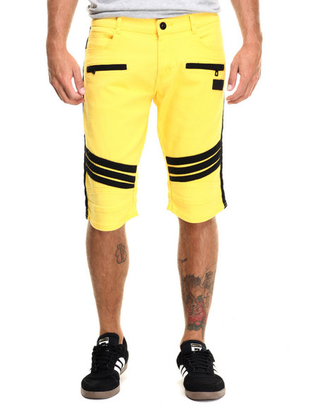 Hudson Nyc - Men Yellow Striker Motorcycle Denim Shorts