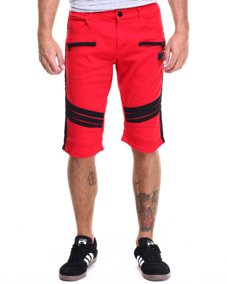 Hudson Nyc - Men Red Striker Moto Denim Shorts