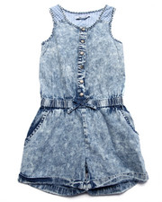 Girls - LAZY DAYZ DENIM & MESH ROMPER (7-16)