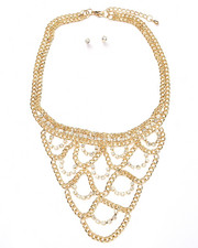 Jewelry - Chain & Bling Loop Bib Necklace and Earrings Set