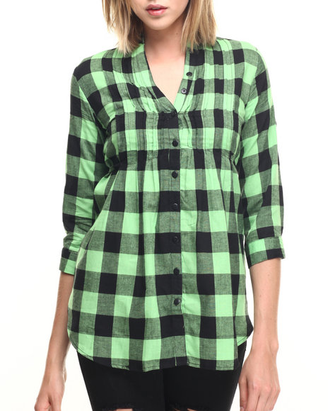 Ur-ID 219655 She's Cool - Women Green Buffalo Check Pleated Front Babydoll Cotton Shirt