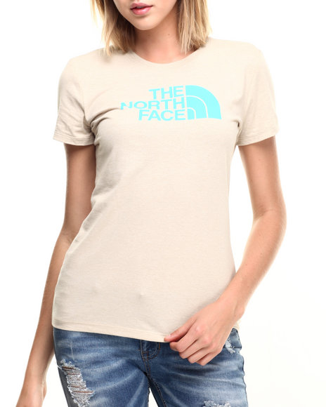 Ur-ID 219656 The North Face - Women Cream,Turquoise Short Sleeve Half Dome Tee