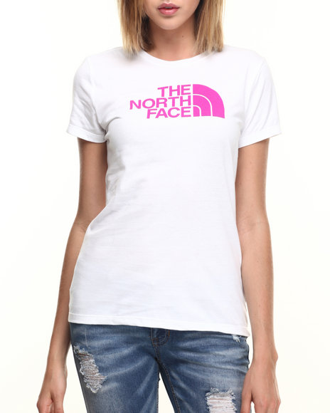 Ur-ID 219657 The North Face - Women Pink,White Short Sleeve Half Dome Tee